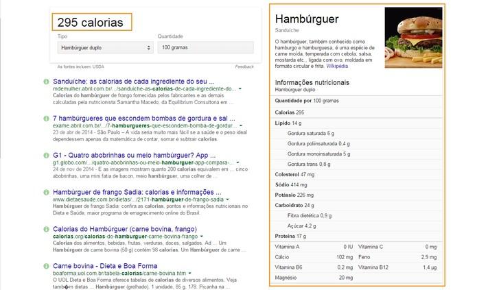 Cards com informações nutricionais buscadas no Google (Foto: Reprodução/Barbara Mannara)