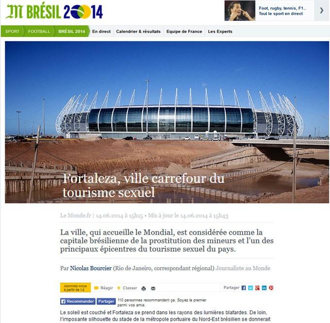 Le Monde mostra o estádio Castelão e classifica Fortaleza como capital brasileira da prostituição