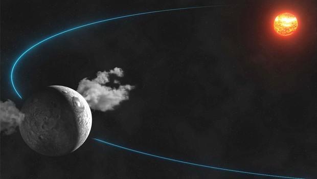 Astrônomos flagraram dois jatos de vapor em face opostas do asteroide Ceres   (Foto: AP Photo/ IMCCE, Paris Observatory, CNRS)