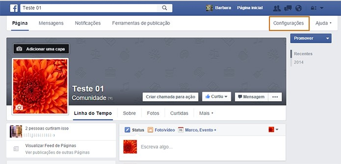 Acesse  o botão de configurações na sia página do Facebook (Foto: Reprodução/Barbara Mannara)