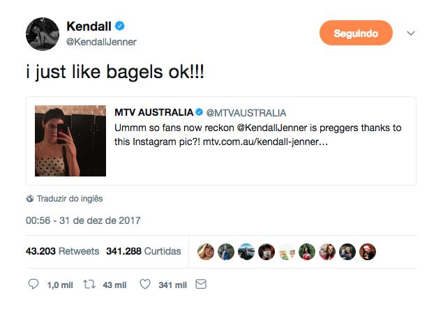 Kendall Jenner no Twitter (Foto: Reprodução)