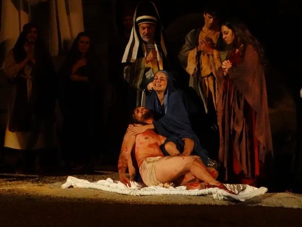 Paloma Bernardi interpretando Maria em Nova Jerusalém (Foto: Thays Estarque/ G1)