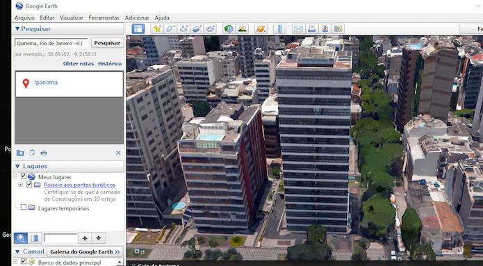 Visualizando um local com a função 3D do Google Earth (Foto: Reprodução/Marvin Costa)