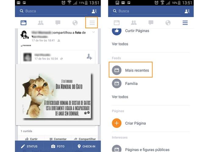 Acesse o menu do Facebook no Android e localize a lista de Feeds (Foto: Reprodução/Barbara Mannara)