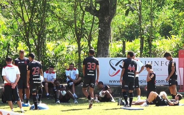 Goleiros no treino do Flamengo (Foto: Gabriel Fricke / Globoesporte.com)