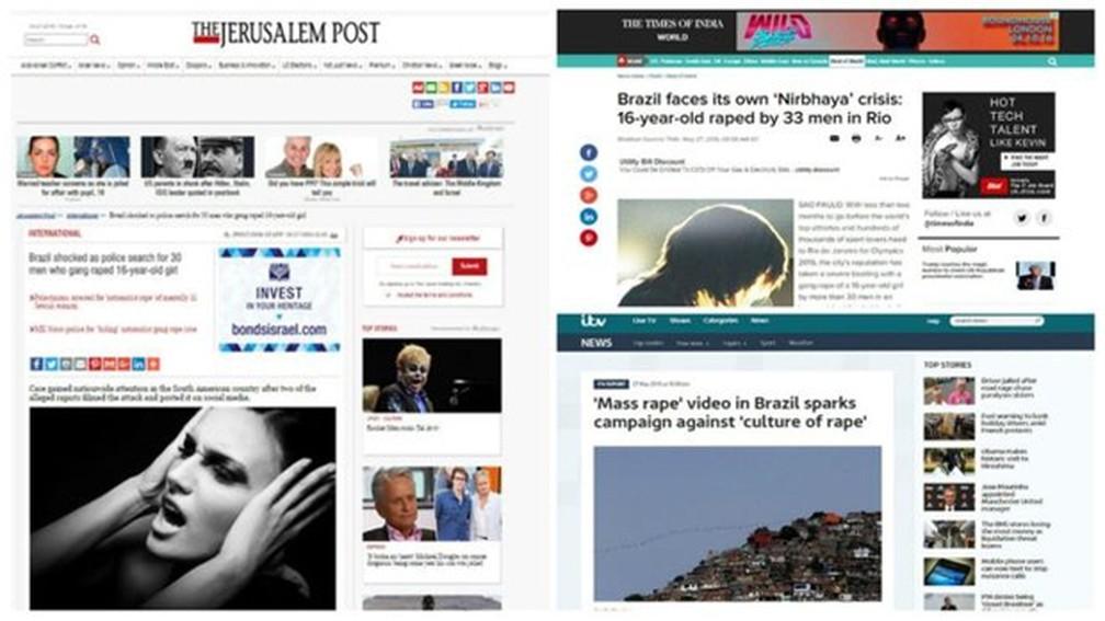 Sites e publicações internacionais repercutem o episódio do estupro coletivo e o amplo debate sobre a cultura de agressões à mulher no país (Foto: Reprodução)