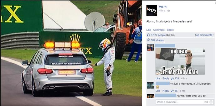 """Internautas fazem piada com Fernando Alonso: """"Finalmente conseguiu um assento na Mercedes"""" (Foto: Reprodução / Facebook)"""