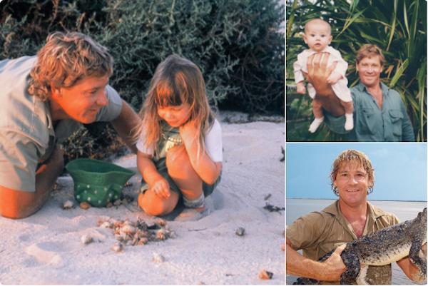 O apresentador Steve Irwin com a filha (Foto: Twitter)