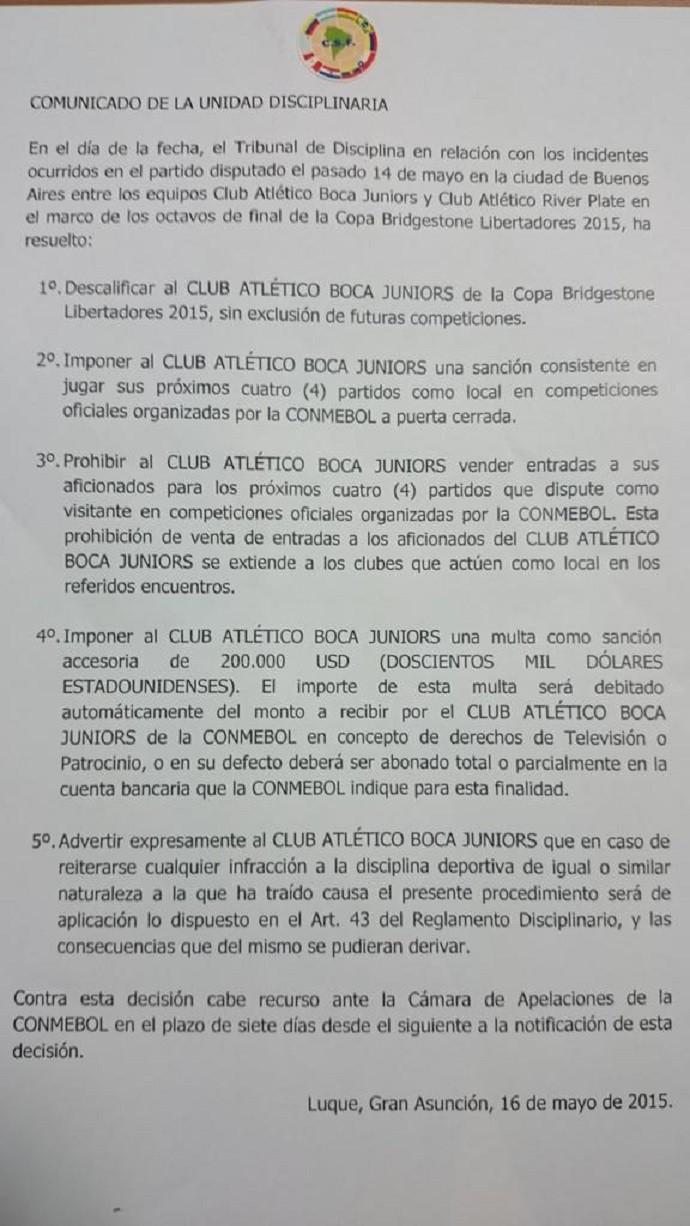 Comunicado da Conmebol confirma eliminação do Boca na Libertadores (Foto: Divulgação)
