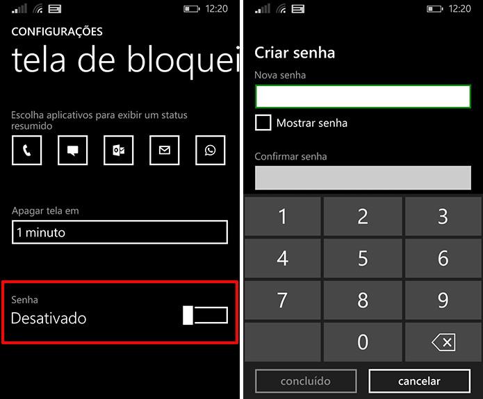 Windows Phone utiliza senha de bloqueio numérica para proteger os dados do usuário (Foto: Reprodução/Elson de Souza)