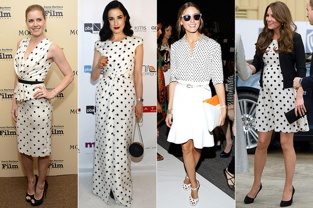 Famosas vestindo Poás - Amy Adams, Dita Von Teese, Olivia Palermo e Kate Middleton (Foto: Getty Images | AFP)