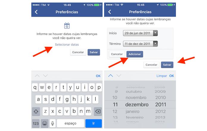 Adicionando um período de restrição para publicações que aparecem na função Neste Dia do Facebook para iPhone (Foto: Reprodução/Marvin Costa)