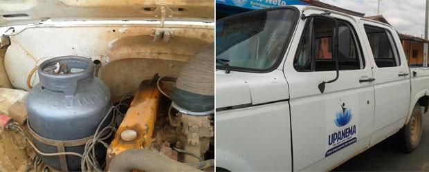 Estudante diz que carro da Prefeitura de Upanema é abastecido com gás de cozinha (Foto: Renato Medeiros Albuquerque)