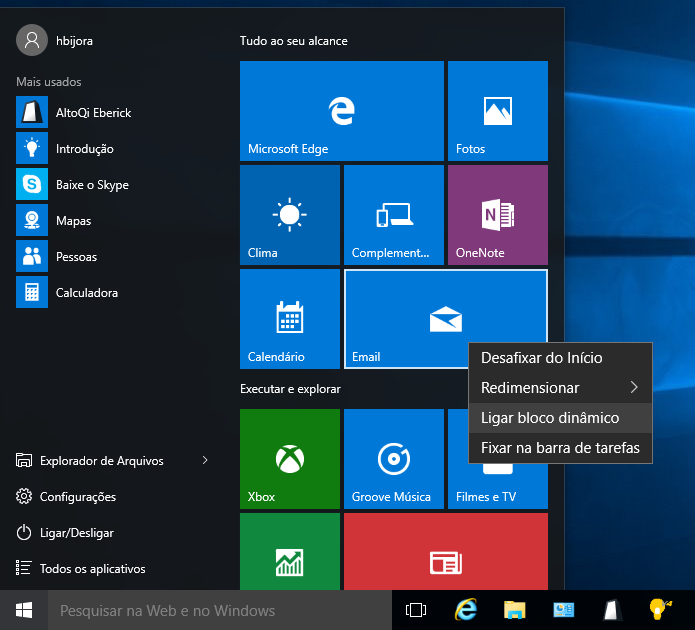 como desativar os blocos din u00e2micos do windows 10