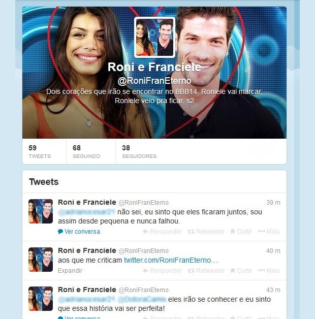Perfil no Twitter feito para os BBBs Franciele e Roni (Foto: Twitter / Reprodução)
