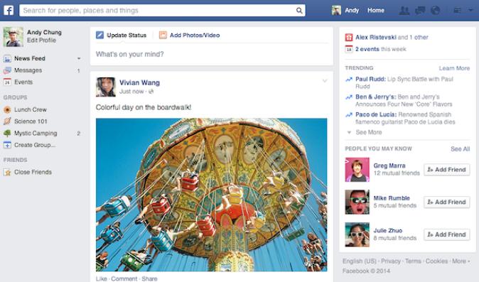 Novo layout busca aproximar o visual desktop do site do Facebook móvel, com menos elementos (Foto: Foto: Reprodução/Facebook)