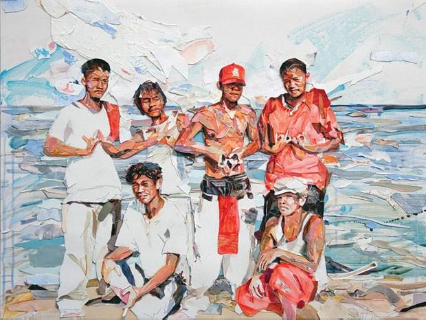 Seis artistas latino-americanos nos EUA receberam a tarefa de definir a identidade de imigrantes da região por meio de uma série de retratos. O resultado foram 59 obras – entre fotografias, pinturas e obras com técnicas mistas – reunidas pela National Portrait Gallery, em Washington, em uma mostra que ficará aberta até abril de 2015. A pintura acima é de Michael Vásquez, filho de um porto-riquenho, que mora em Miami.  (Foto: Michael Vasquez/BBC)