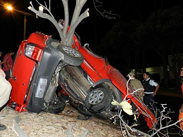 Carro capotou duas vezes e partiu ao meio após bater em uma árvore no canteiro central da via (Foto: Agência Miséria)
