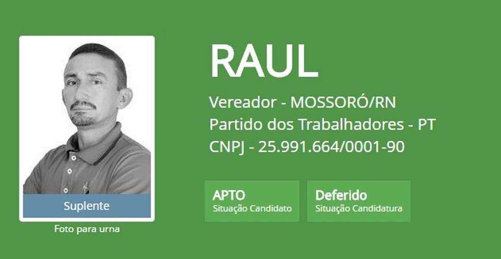 Raul foi morto a tiros ao voltar do trabalho, na comunidade Maísa, em Mossoró, RN (Foto: Reprodução/ TSE)