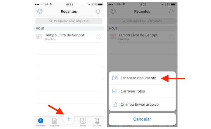 Acessando a opção de escâner do Dropbox para iPhone (Foto: Reprodução/Marvin Costa)