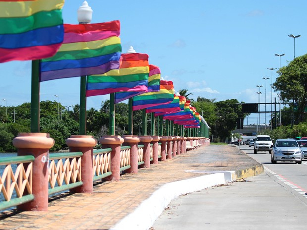 Bandeiras LGBTT no Cais José Estelita, no Recife (Foto: Marlon Costa/Pernambuco Press)