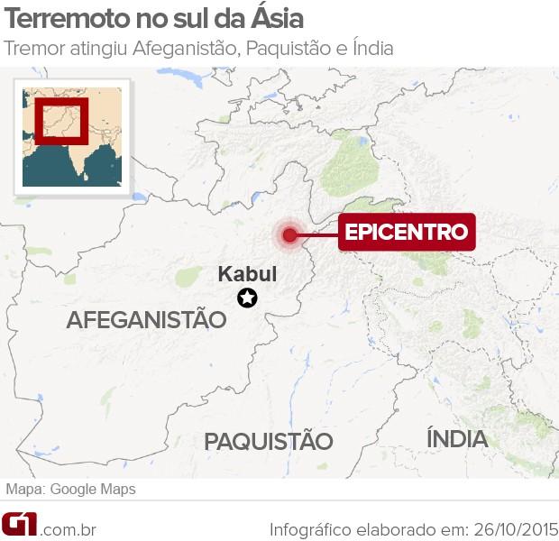 Mapa Terremoto no Afeganistão (Foto: G1)