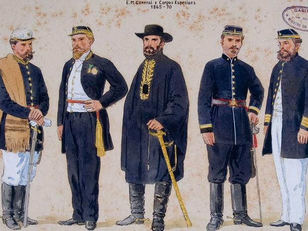 Desenho dos uniformes utilizados pelos soldados durante a Guerra do Paraguai (Foto: Fundação Biblioteca Nacional)
