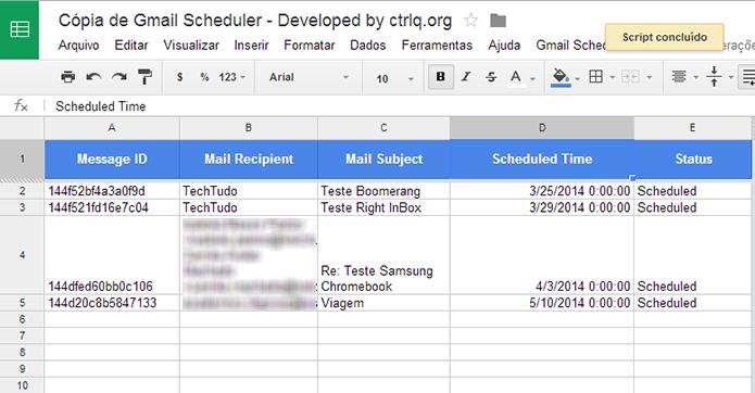 Gmail Scheduler é script de agendamento de e-mails que funciona em uma planilha do Docs (Foto: Reprodução/Paulo Alves)