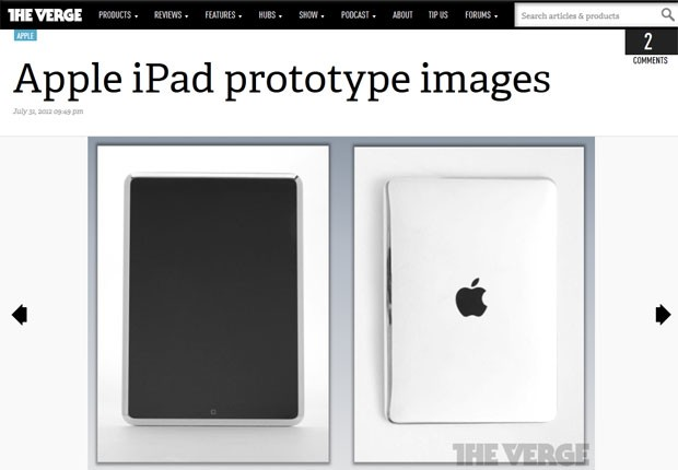 Site 'The Verge' mostra imagens de pr&#243;t&#243;tipos do iPad (Foto: Reprodu&#231;&#227;o)