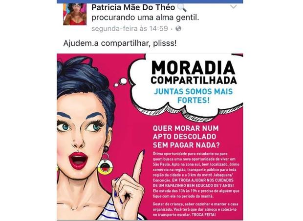 O anúncio publicado na internet (Foto: Reprodução/Facebook)
