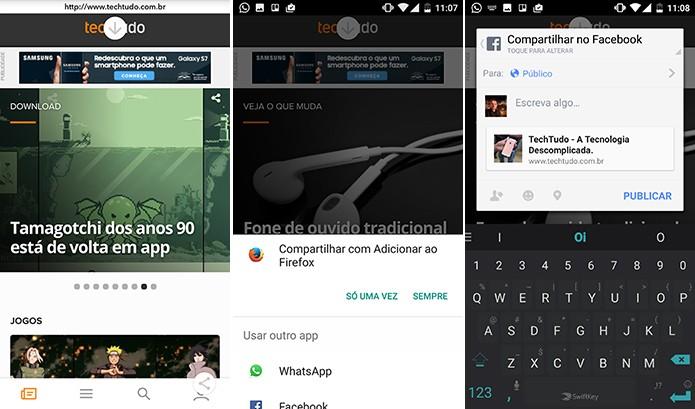 Snapchat pode compartilhar links em outros apps a partir do navegador interno (Foto: Reprodução/Elson de Souza)