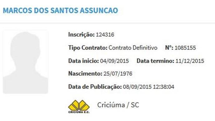 Marcos Assunçã Criciúma BID (Foto: Reprodução/BID)