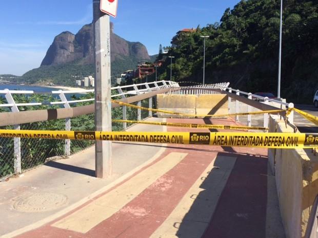 Ciclovia Tim Maia não tem data para ser reaberta (Foto: Matheus Rodrigues/G1)