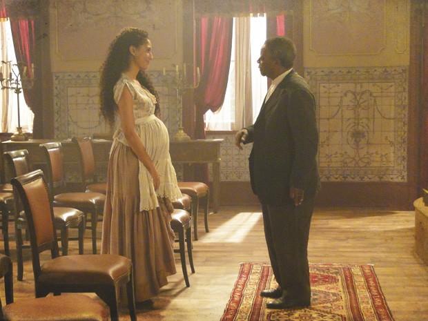Afonso pede para Isabel voltar (Foto: Lado a Lado/Tv Globo)