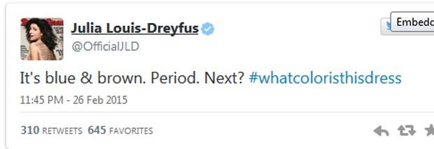 Julia Louis-Dreyfus: 'É azul e marrom. Ponto final. Próximo?' (Foto: Reprodução / Twitter)