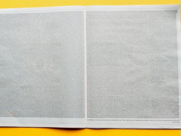 Ação da Loducca colocou 'O Alquimista' também em página dupla de jornal. (Foto: Divulgação)