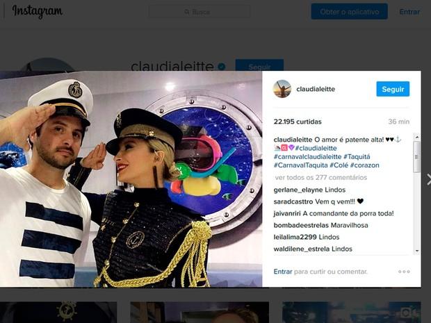 Claudia Leitte posou com marido antes de iniciar desfile em Salvador (Foto: Reprodução/Instagram)