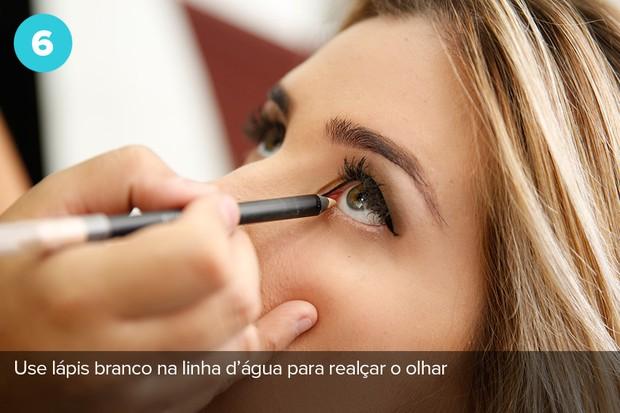 Sexto passo: lápis branco na marca d'água para realçar o olhar (Foto: Marcos Serra Lima/EGO)