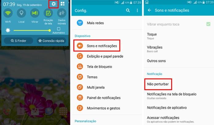 Também é possível ativar e configurar o modo Não Perturbe pelas notificações do celular (Foto: Reprodução/Aline Batista)