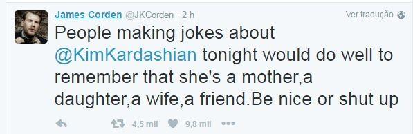 James Corden reclama de piadas sobre violência sofrida por Kim Kardashian (Foto: Reprodução/Twitter)