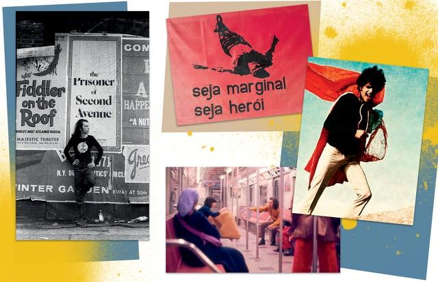 Em sentido horário, a partir da esquerda: Oiticica em frente ao pôster de The Prisoner of Second Avenue, em 1972; Seja Marginal, Seja Herói (1968); Caetano Veloso vestindo um dos parangolés, em 1964; e a escultura de vestir, em vídeo feito em Nova York, e (Foto: César e Claudio Oiticica, Geraldo Viola, Vicente De Mello e Regina Vater)