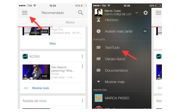 Acessando a playlist criada no YouTube para iPhone (Foto: Reprodução/Marvin Costa)