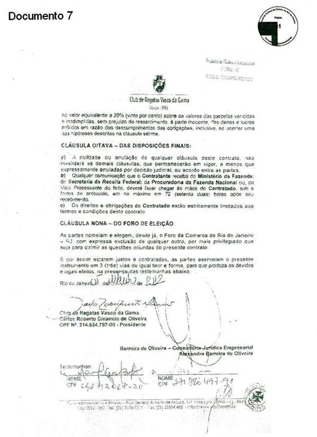 Documento Vasco 7 (Foto: GloboEsporte.com)