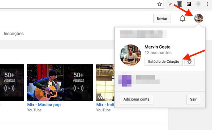 Configurações de uma página do YouTube (Foto: Reprodução/Marvin Costa) (Foto: Configurações de uma página do YouTube (Foto: Reprodução/Marvin Costa))