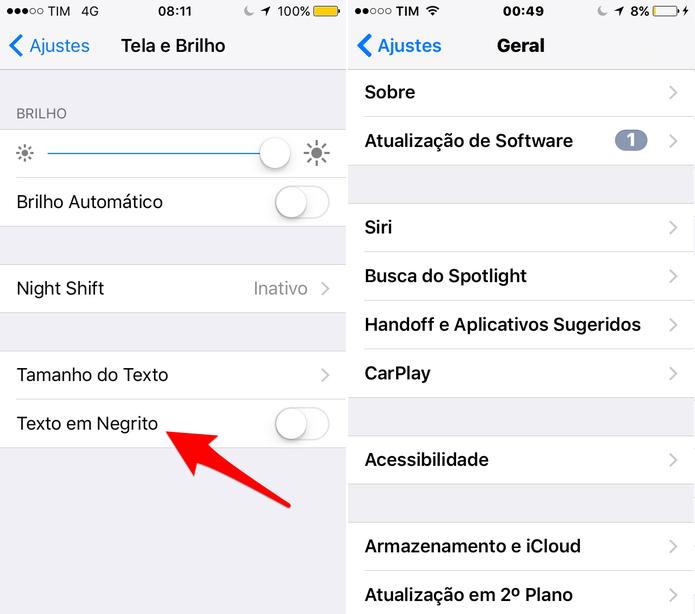 Ative a opção Texto em Negrito (Foto: Reprodução/Lucas Mendes)