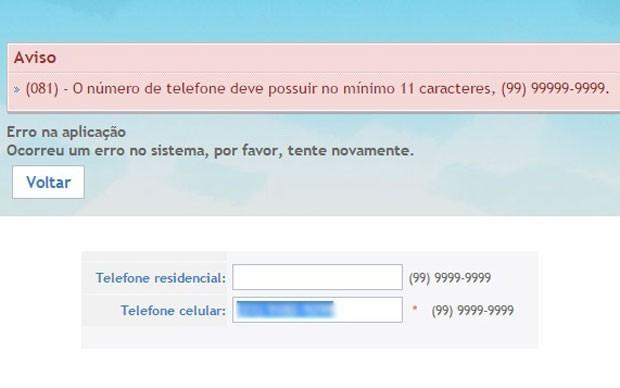 Site do Fies aponta erro no cadastro do número de celular de estudante (Foto: Reprodução/Fies)