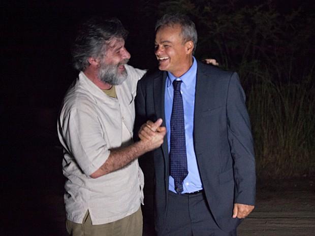 Kadu e Leopoldo mostram parceria durante os bastidores (Foto: Fabiano Battaglin / Gshow)