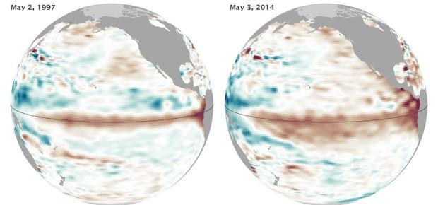 Comparação do Oceano Pacífico em maio de 1997 e de 2014. As áreas vermelhas mostram água mais quente e nível do mar mais alto. Indicam um El Niño em formação. (Foto: Nasa)
