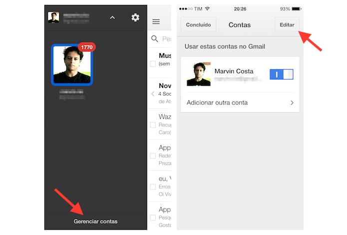 Gerenciando uma conta do Gmail no iPhone (Foto: Reprodução/Marvin Costa)