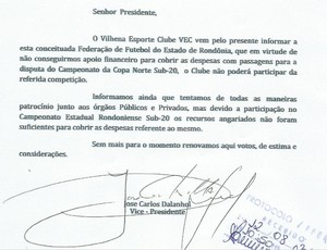 Vilhena envia ofício à FFER desistindo da Capa Norte Sub-20 (Foto: Reprodução/FFER)